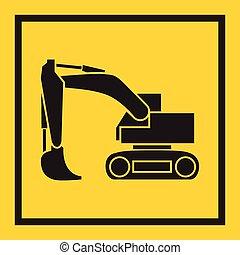 excavateur, bulldozer, piste, continu, tortue, tracteur, backhoe., lame, roulé