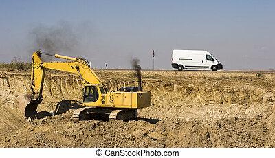 excavateur, camion