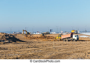 excavateur, camions décharge