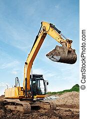 excavateur, carrière, chargeur