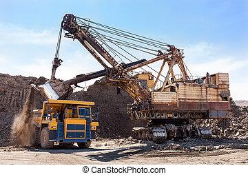 excavateur, chargement, camion, jaune, décharge