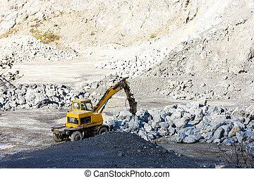 excavateur, chargement, rochers, à, carrière
