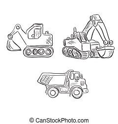 excavateur, construction, camion