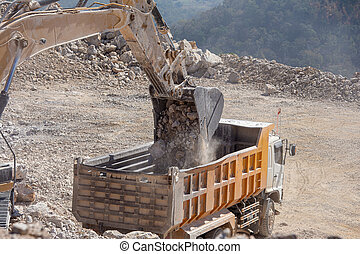 excavateur, décharge, mines, jaune, rochers, charbon, remplissage, camion