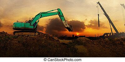 excavateur, fonctionnement, panorama, site, construction, coucher soleil