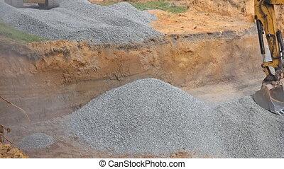 excavateur, fondation, seau, backfilling, pierre, backfill, tranchée