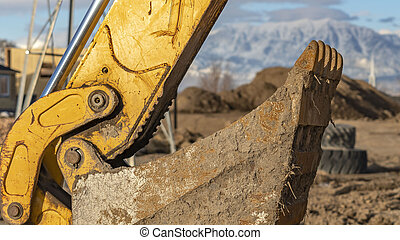 excavateur, panorama, seau, site, jaune, construction, sale, bras