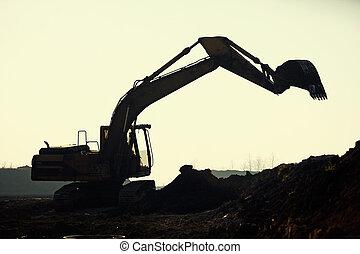 excavateur, silhouette