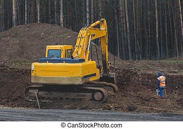 excavateur, travail, -, jaune, construction, autoroute