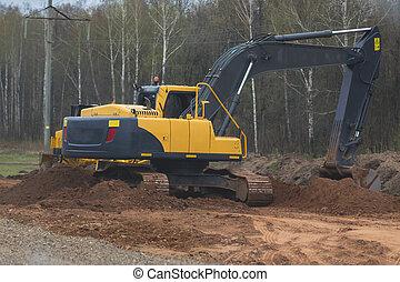 excavateur, travail, -, jaune, reconstruction, autoroute