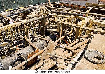 excavation, conduits, électrique, eau, principal