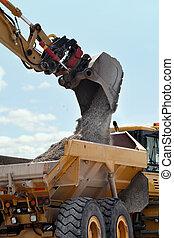 excavation, &, décharge, véhicule