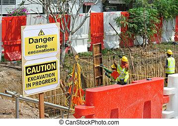 excavation, danger, profond, signe
