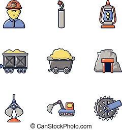 Excavation icons set, cartoon style