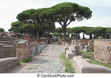 Excavation in Ostia Antica, the Port of Ancient Rome, Italy
