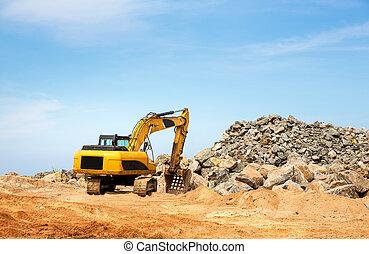 Excavation mashine works in a quarry