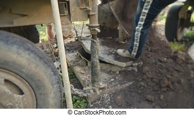 excavation of a well - digging a well with a specialized...