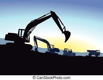 excavation, pendant, excavateur