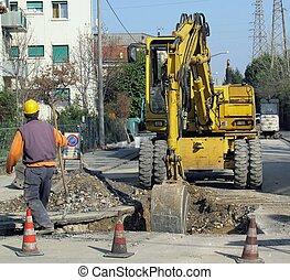 excavation, travaux routiers, travail, racloir, pendant, entier
