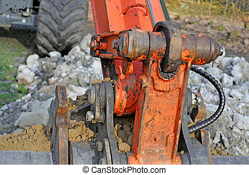 excavation worker, detail, shallow depth of field