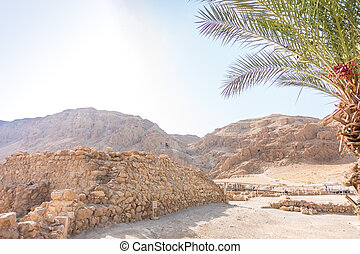 Excavations in Qumran, where Essenes hide scrolls with the...