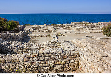 excavations of the ancient city near the sea coast