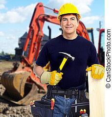 excavator., 建築作業員