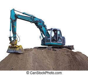 excavator 2 - excavator with the work on an earth hill , ...