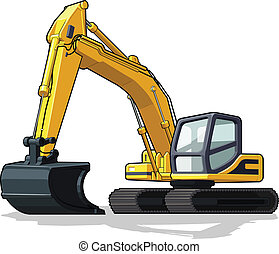 A vector image of an isolated excavator. Available as a Vector in EPS8 format that can be scaled to any size without loss of quality. Elements could be separated for further editing, color could be easily changed.