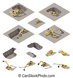 Excavator and bulldozer digs a pit on the construction site isometric icon set