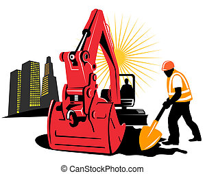 Excavator and worker - Illustration on construction industry