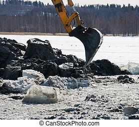 Excavator arm digging