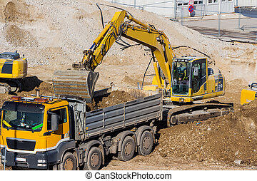 excavator at construction site during excavation