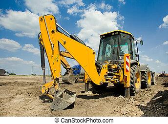 Excavator at construction site