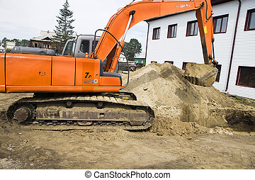 Excavator at the construction site.