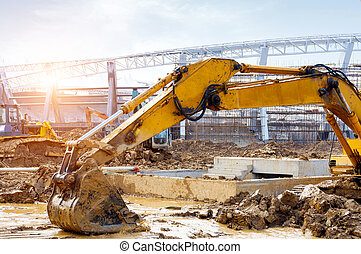 Excavator at work - The excavator is working excavation site...