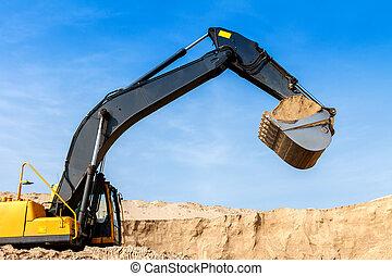 Excavator at Work - Yellow Excavator work at Construction...
