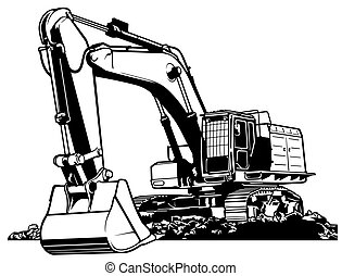 Excavator Black and White Outlined Illustration, Vector
