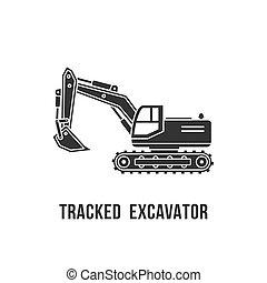 Excavator black silhouette icon. Construction equipment vector illustration