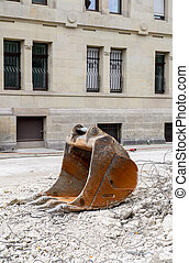 Excavator bucket at construction site