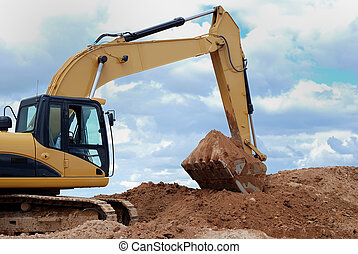 Excavator bulldozer loader in sandpit - Excavator bulldozer ...