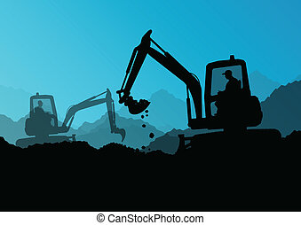 Excavator bulldozer loaders, tractors and workers digging at industrial construction site vector background illustration