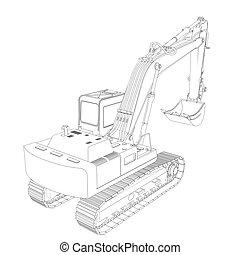 excavator., cadre, fil