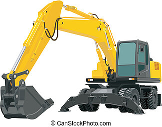 Excavator - Yellow excavating machine isolated on white...