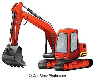 Excavator - Close up red excavator with metal shovel