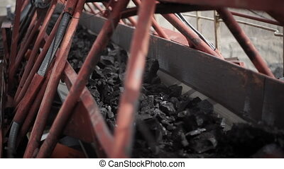 Excavator, coal loading, conveyor - Excavators coal loading...