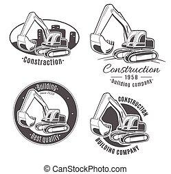 excavator., conjunto, vector, logos.