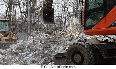 Excavator demolition old house - Excavator machinery working...