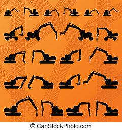 Excavator detailed editable silhouettes illustration...