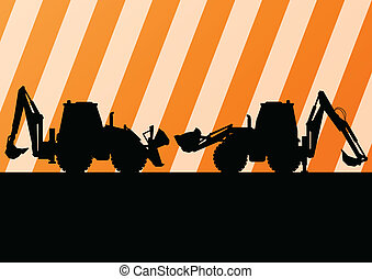 Excavator detailed tractor silhouettes illustration construction site background vector